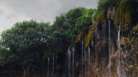 Szenischer Wasserfall im Wald, der unten vom Felsen fließt stock footage