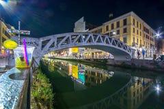 Szenisches Naviglio-Canal Grande in Mailand, Lombardia, Italien stockfotos