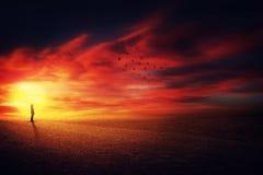 Szenisches Sonnenuntergangschattenbild stockfoto