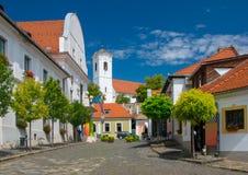Szentendre,匈牙利老镇风景看法晴朗的夏日 图库摄影