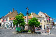 Scenic view of old town of Szentendre, Hungary at sunny summer day stock images