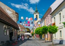 Scenic view of old town of Szentendre, Hungary at sunny summer day royalty free stock photo
