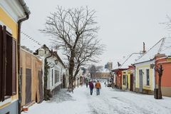 SZENTENDRE, HUNGARY - JANUARY 12, 2017, Tourists are walking on the streets in the winter. Street view. Szentendre- small town royalty free stock photos