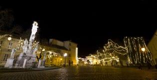 Szentlelek kwadrat przy christmastime w Obuda w Budapest obrazy royalty free