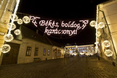 Szentlelek square at christmas time in Obuda in Budapest Royalty Free Stock Images