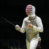 Szermierz Aleksander Massialas Stany Zjednoczone współzawodniczy w mężczyzna ` s drużyny folii Rio 2016 olimpiad przy Carioca are zdjęcie stock