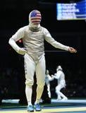 Szermierz Aleksander Massialas Stany Zjednoczone współzawodniczy w mężczyzna ` s drużyny folii Rio 2016 olimpiad przy Carioca are obrazy royalty free