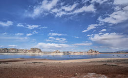 Szeroka kąt panorama Jeziorny Powell, Arizona Obrazy Stock
