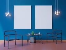 Szeroka nowożytna błękitna tapeta i wnętrze układu dekoraci 3d ilustrator royalty ilustracja