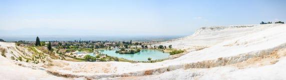 Szeroka panorama Pamukkale, Turcja Zdjęcie Royalty Free