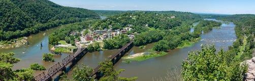 Szeroka panorama Przegapia harfiarza prom, Zachodnia Virginia od Mary Zdjęcie Royalty Free