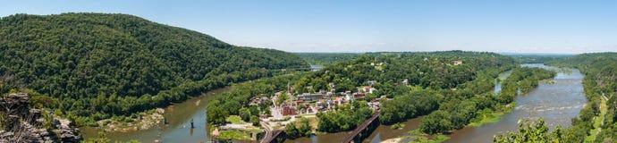 Szeroka panorama Przegapia harfiarza prom, Zachodnia Virginia od Mary Obraz Royalty Free