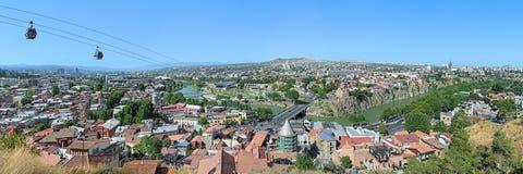 Szeroka panorama Tbilisi, Gruzja Obraz Royalty Free