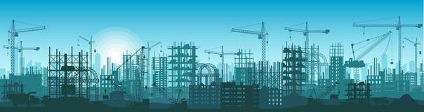 Szeroka wysokość wyszczególniał sztandar ilustracyjną sylwetkę budynki w budowie w procesie ilustracji