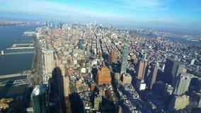 Szeroki kąta widok z lotu ptaka nad Manhattan Nowy Jork zdjęcie wideo