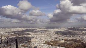 Szeroki kąta wprowadzenie strzelał Paryski miasto z Notre Damae i kilka zabytkami dzień zbiory