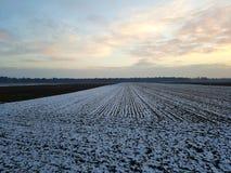 Szeroki krajobrazu częsciowo śnieg Zdjęcie Royalty Free