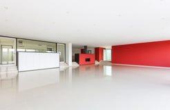 Szeroki nowożytny żywy pokój Fotografia Royalty Free