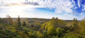 Szeroki panorama krajobrazu strzał zielona łąka z kolorowymi drzewami i niebieskim niebem w jesieni Zdjęcia Royalty Free