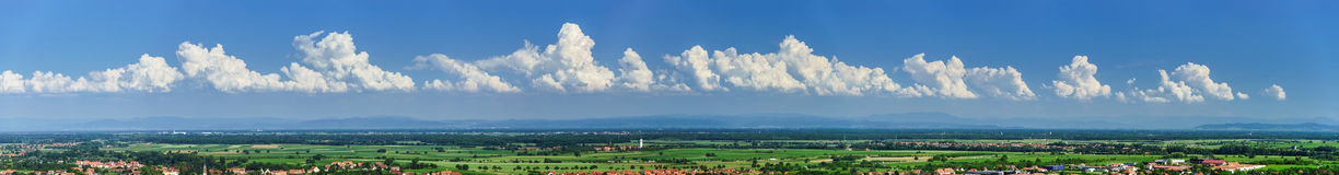 Szeroki panoramiczny widok Alsacevineyards, Francja Obraz Stock