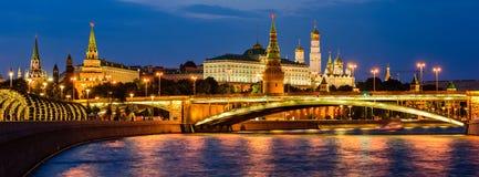 Szeroki panoramiczny widok Moskwa Kremlin i Moskwa rzeka obraz royalty free