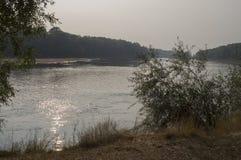 Szeroki rzeczny spływanie przez zielonego lasowego spadek równo Odbicia drzewa w uspokajają wodę zmierzch Obraz Royalty Free