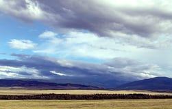 Szeroki step z żółtą trawą pod niebieskim niebem z bielem chmurnieje Sayan góry Syberia Rosja Zdjęcia Royalty Free