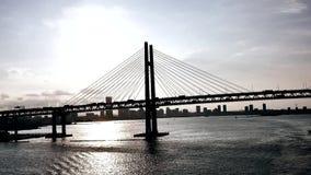Szeroki strzał ruchliwie Japonia Yokohama most zdjęcie wideo