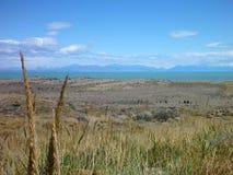 Szeroki trawiasty pampa w argentyńskim patagonia Obraz Royalty Free