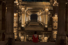 Szeroki widok Adalaj kroka well Ahmedabad, Gujarat Obrazy Stock