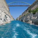 Szeroki widok Corinth kanał, Grecja Obraz Stock