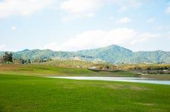 szeroki zieleni pole na tocznych wzgórzach i niebieskim niebie z chmurami wśród Fotografia Stock