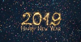 Szerokiego kąt sieci wakacyjnego sztandaru Szczęśliwy nowy rok 2019 zdjęcie stock
