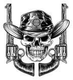 Szeryf czaszka I Pistoletowi ręka pistolety royalty ilustracja