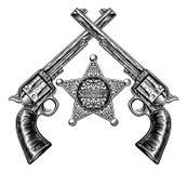 Szeryf Gwiazdowa odznaka i Krzyżować krócicy ilustracji