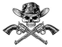 Szeryf odznaki kowbojskiego kapeluszu Gwiazdowa czaszka i krócicy royalty ilustracja