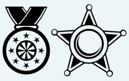 Szeryfa medal z faborkiem i odznaka ilustracja wektor