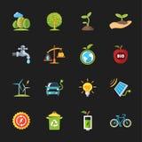 Szesnaście płaskich eco ikon royalty ilustracja