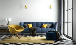 Szewronu wewnętrzny żywy pokój, szewronu podłogowy biały, z lo zdjęcie stock