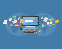Szkół wyższa dostawy Nauczanie online Udzielenie wiedza ilustracja wektor