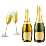 Szkła i butelka szampan Zdjęcia Royalty Free
