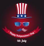 Szkła i wąsy projekt flaga amerykańska Kapelusz wujek sam Obraz Stock