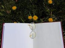 Szkła kłaść na otwartej książce z ogrodowymi kwiatami w tle obrazy stock