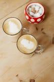 szkła kawowy latte wysocy dwa fotografia stock