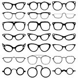 Szkła modelują ikony, mężczyzna, kobiet ramy Okulary przeciwsłoneczni, eyeglasses na bielu Zdjęcia Royalty Free