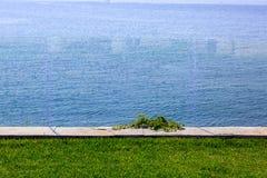 Szkła ogrodzenie zielony gazon zdjęcia royalty free