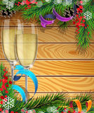 Szkła szampan i choinek gałąź Zdjęcia Stock