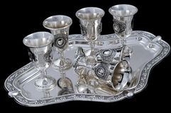 szkła ustawiają srebnego wino Zdjęcie Royalty Free