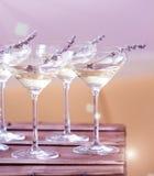 Szkła z biały szampan dekorowali z lawendą zdjęcie royalty free