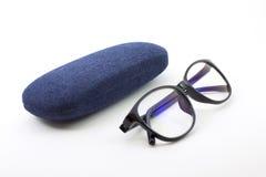 szkła z niebieskimi dżinsami Obraz Stock